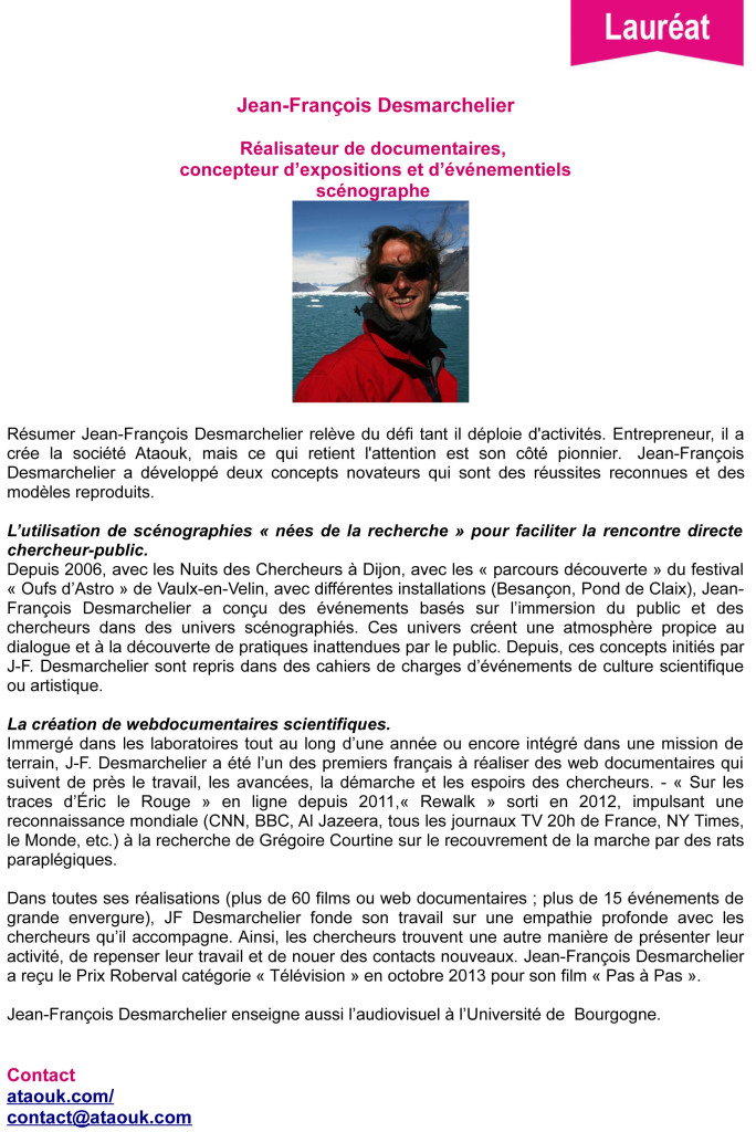 DESMARCHELIER- prix Diderot -Curien 2014-laureat